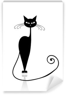 Black cat silhouette for your design Self-Adhesive Wall Mural