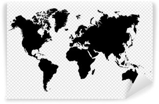 Self-Adhesive Wall Mural Black silhouette isolated World map EPS10 vector file.