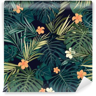 Bright colorful tropical seamless background with leaves and Self-Adhesive Wall Mural