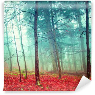 Colorful mystic autumn trees Self-Adhesive Wall Mural