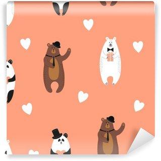 Cute bears pattern. Seamless romantic background with polar bear, brown bear and panda. Self-Adhesive Wall Mural