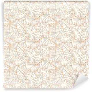 Cute seamless pattern with red contour autumn leaves on the white (transparent) background. Vector illustration Self-Adhesive Wall Mural