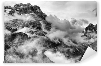 Dolomites Mountains Black and White Self-Adhesive Wall Mural