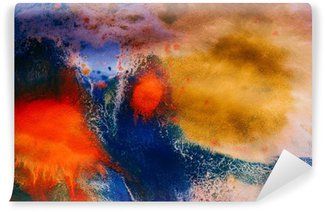 dried streaks of multicolored paint with cracks Self-Adhesive Wall Mural