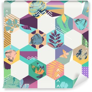 Floral seamless geometric background Self-Adhesive Wall Mural