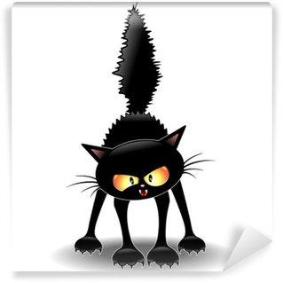 Self-Adhesive Wall Mural Funny Fierce Black Cat Cartoon-Gatto Buffo Feroce