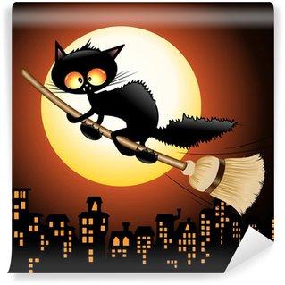Self-Adhesive Wall Mural Halloween Cat Cartoon on Witch Broom-Gatto Strega su Scopa