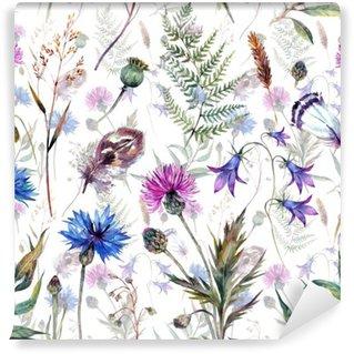 Hand drawn watercolor wildflowers Self-Adhesive Wall Mural