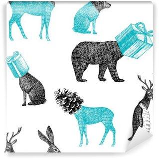 hand drawn winter animals seamless background Self-Adhesive Wall Mural