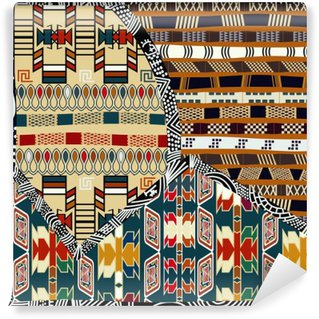 Self-Adhesive Wall Mural Indian tribal colored seamless pattern.Vector illustration