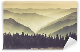 Landscape of misty mountain hills. Self-Adhesive Wall Mural