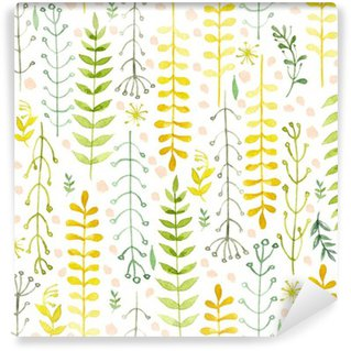 Pattern of flowers painted in watercolor on white paper. Sketch of flowers and herbs. Wreath, garland of flowers. Self-Adhesive Wall Mural