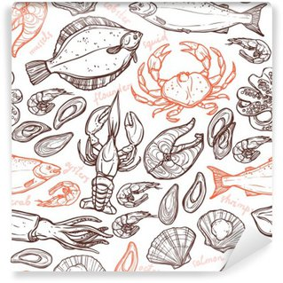 Self-Adhesive Wall Mural Pattern with seafood hand drawn elements with lobster, octopus, squid, salmon, flounder, crab, mussels, oysters and shrimps on white background