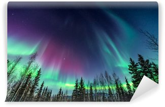 Purple and green Northern Lights Self-Adhesive Wall Mural