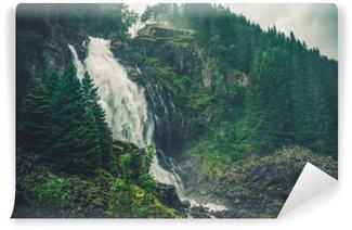 Scenic Norwegian Waterfall Self-Adhesive Wall Mural