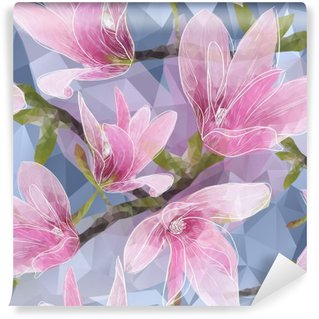 Self-Adhesive Wall Mural Seamless background with blooming magnolia flowers in triangles