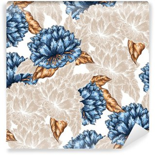 Seamless Graphic flower pattern Self-Adhesive Wall Mural