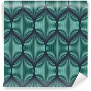 Seamless neon blue optical illusion woven pattern vector Self-Adhesive Wall Mural