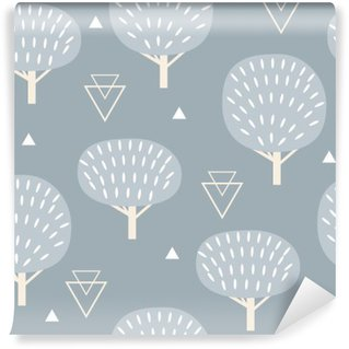 Self-Adhesive Wall Mural Seamless pattern in modern Scandinavian style. Vector geometry background of north nature.