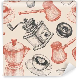 Seamless pattern is all about coffee. Self-Adhesive Wall Mural