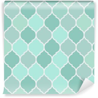 Seamless pattern turquoise tiles, vector Self-Adhesive Wall Mural