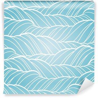 Self-Adhesive Wall Mural Seamless wave abstract hand drawn pattern.