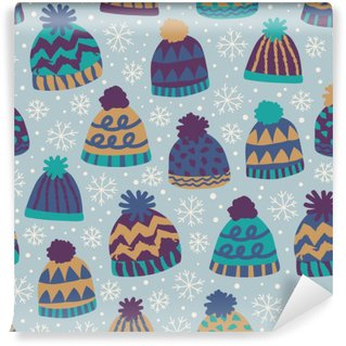seamless winter pattern with caps and snowflakes Self-Adhesive Wall Mural