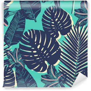 Self-Adhesive Wall Mural Tropical Palm seamless leaf blue pattern