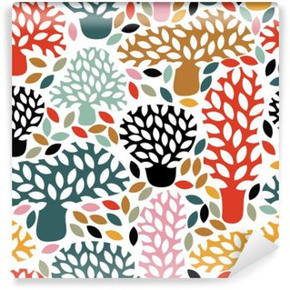 Vector multicolor seamless pattern with hand drawn doodle trees. Abstract autumn nature background. Design for fabric, textile fall prints, wrapping paper. Self-Adhesive Wall Mural