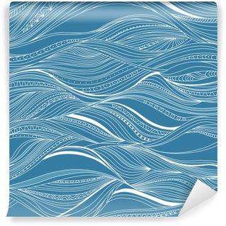 Self-Adhesive Wall Mural Vector seamless abstract pattern, waves