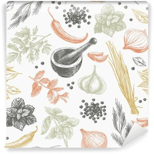Vector seamless pattern with herbs and spices. Self-Adhesive Wall Mural