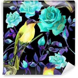 Watercolor birds on the blue roses Self-Adhesive Wall Mural