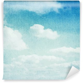 Watercolor clouds and sky background Self-Adhesive Wall Mural