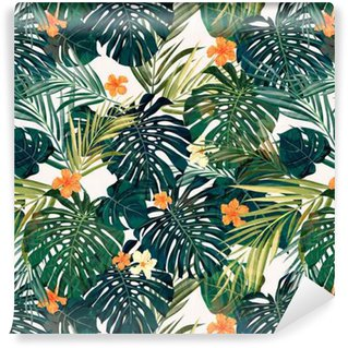 Bright colorful tropical seamless background with leaves and Self-Adhesive Wallpaper