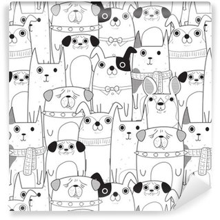 Seamless Dogs pattern Self-Adhesive Wallpaper