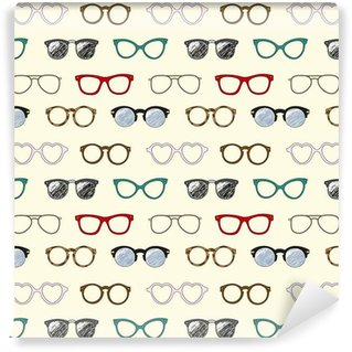 Seamless pattern with retro glasses and frames Self-Adhesive Wallpaper