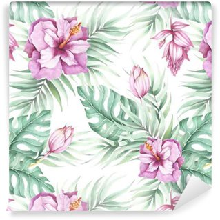 Seamless pattern with tropical flowers. Watercolor illustration. Self-Adhesive Wallpaper