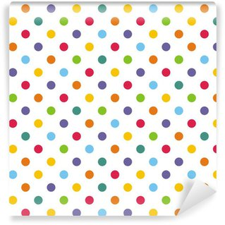 Seamless vector pattern or background with colorful polka dots Self-Adhesive Wallpaper