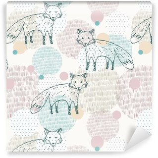 Vector drawn seamless geometric pattern with fox Self-Adhesive Wallpaper