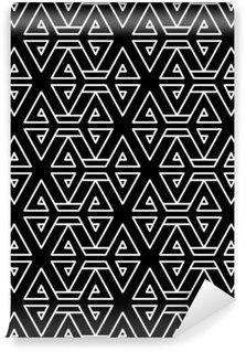 Abstrakt geometrisk sort og hvid hipster mode pude mønster Selvklæbende Fototapet