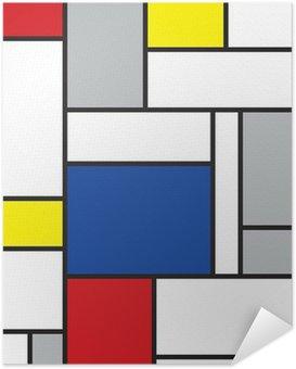 Mondrian inspireret kunst Selvklæbende Plakat