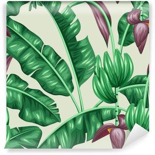 Selvklebende Fototapet Sømløs mønster med bananblad. Dekorativt bilde av tropisk løvverk, blomster og frukt. Bakgrunn laget uten klipping maske. Lett å bruke for bakteppe, tekstil, innpakningspapir