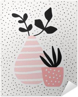 Selvklebende Plakat Rosa Vase og Pot med Planter
