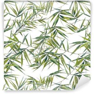 Akvarell illustrasjon av bambus blader, sømløs mønster på hvit bakgrunn