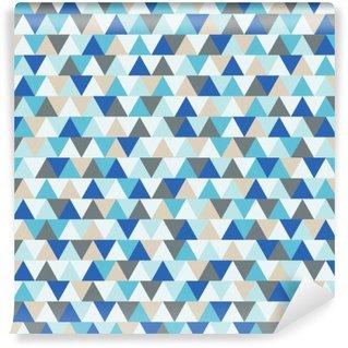 Självhäftande Fototapet Abstrakt triangel vektor bakgrund, blå och grå geometriska vintersemester mönster