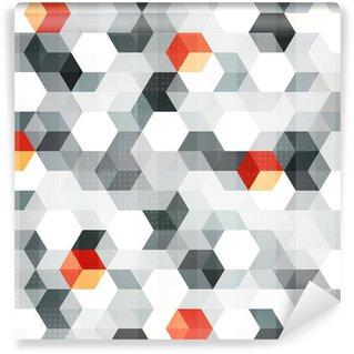 Självhäftande Fototapet Abstrakta kuber sömlösa mönster med grunge effekt