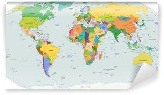 Självhäftande Fototapet Den globala politiska kartan i världen, vektor
