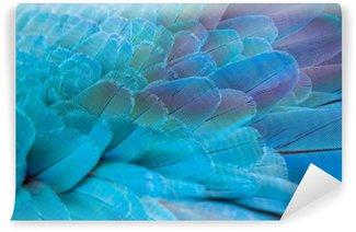 Självhäftande Fototapet Mönster av färgglada fjädrar