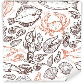 Självhäftande Fototapet Mönster med skaldjur handritad element med hummer, bläckfisk, bläckfisk, lax, flundra, krabba, musslor, ostron och räkor på vit bakgrund