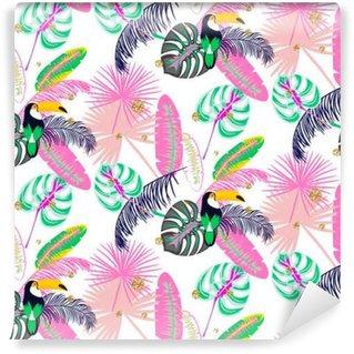 Självhäftande Fototapet Monstera tropiska rosa växtblad och Toucan fågel seamless. Exotisk natur mönster för tyg, tapet eller kläder.